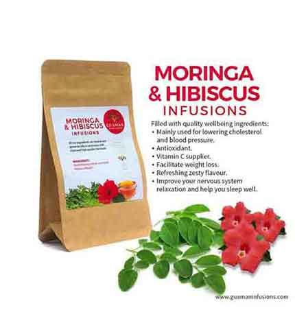 Moringa and hibiscus tea