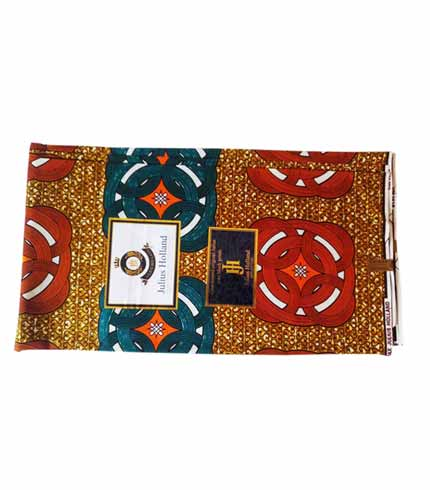 Julius Holland African Print Cloth - Brown & Blue