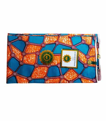President Holland African Print Cloth - Orange & Blue