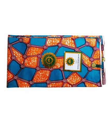 President Holland African Print Cloth - Orange & Blue