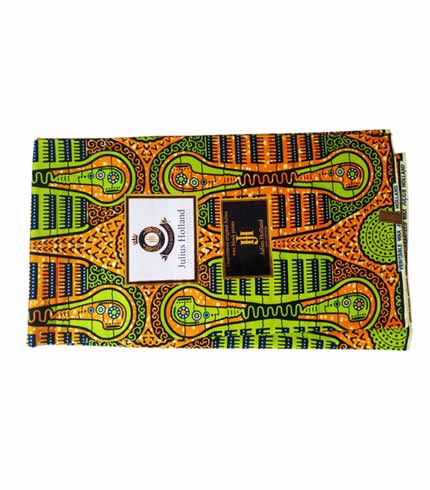Julius Holland African Print Cloth - Orange & Green