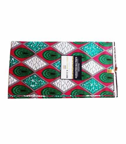 Mitex African Print Cloth - Pink & Green