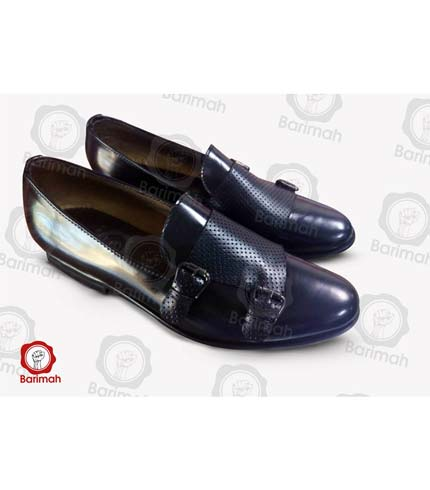 Black Leather Shoes with Buckle