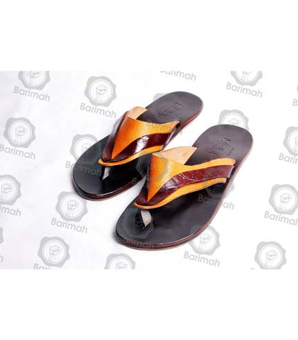 Leather Sandals - Black & Yellow