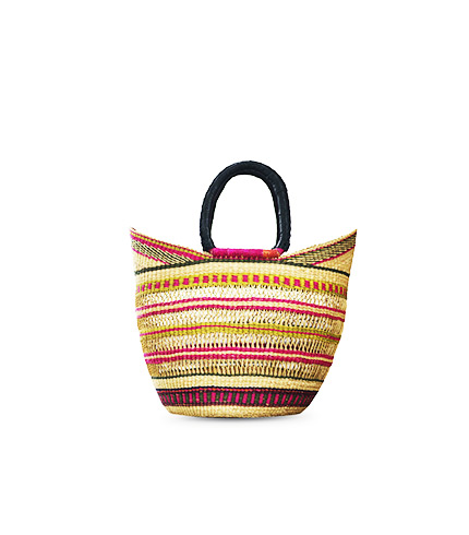 Hand-Woven Shopping Basket - Multicolored