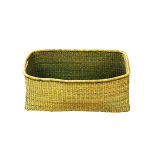 Green Rectangular Hand-Woven Basket