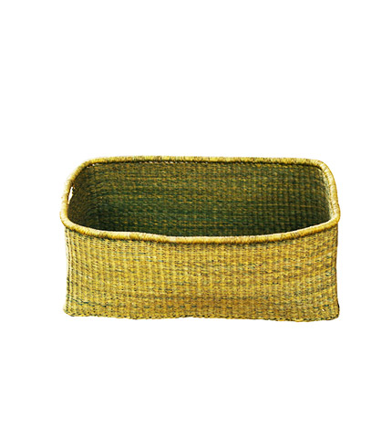 Green Rectangular Hand-Woven Basket