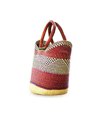 Red Hand-Woven Shopping Basket