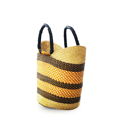 Orange Hand-Woven Shopping Basket