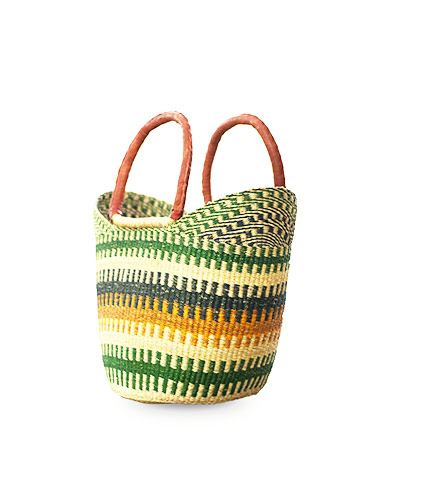 Green Hand-Woven Shopping Basket