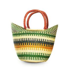 Green Hand-Woven Shopping Basket