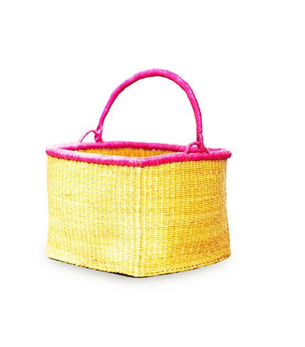Yellow Rectangular Hand-Woven Shopping Basket