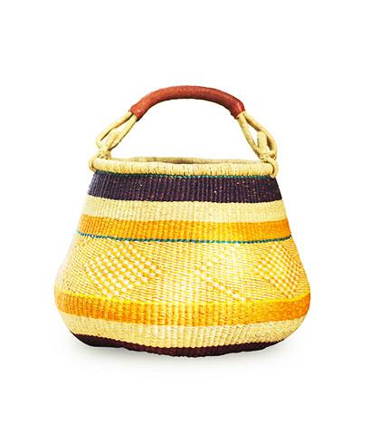 Yellow Circular Hand-Woven Shopping Basket