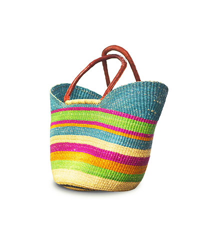 Multicolored Hand-Woven Shopping Basket