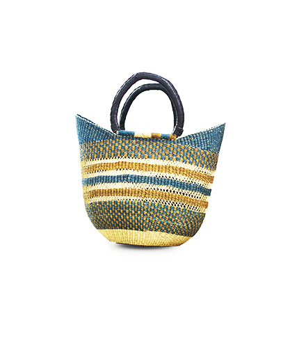 Hand-Woven Shopping Basket - Green, Blue and Natural Walnut