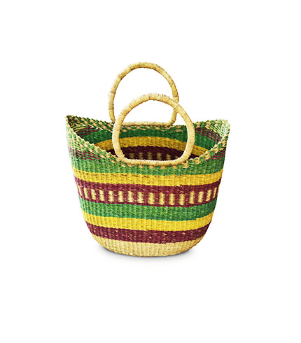 Hand-Woven Shopping Basket - Green, Yellow and Brown