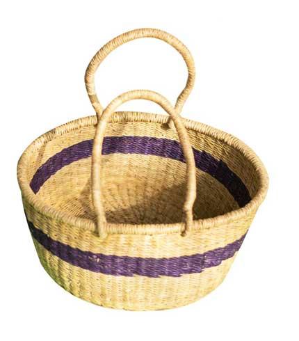 Hand Woven Basket - Violet Stripe