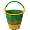 Hand Woven Basket - Green & Yellow