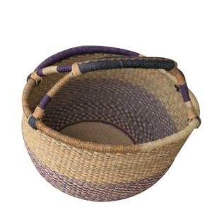 Hand Woven Basket - Brown & Violet