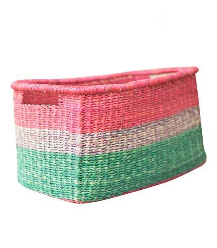Pink & Green Straw Basket