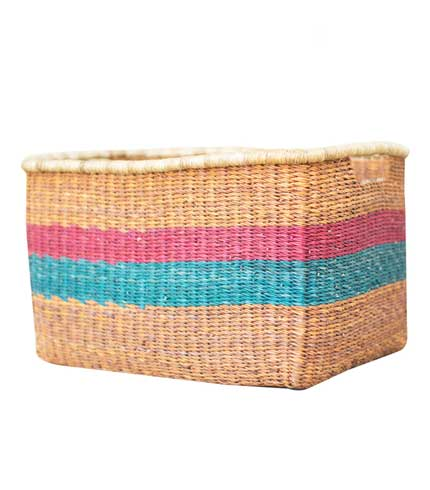 Pink & Blue Straw Basket