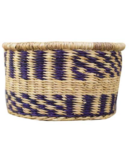 Straw Storage Basket - Blue Design