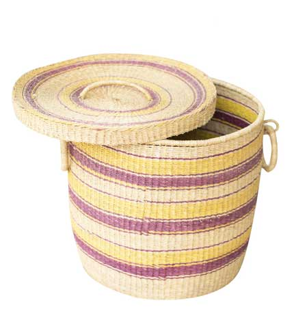 Straw Storage Basket - Yellow Design