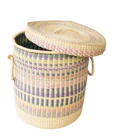 Straw Storage Basket - Multicoloured Design