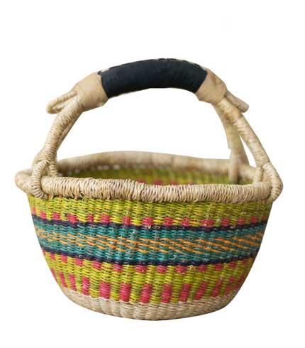 Hand Woven Basket - Lemon Green Design