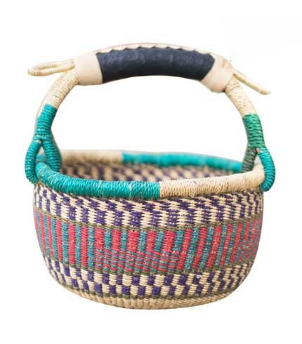 Hand Woven Basket - Light Blue
