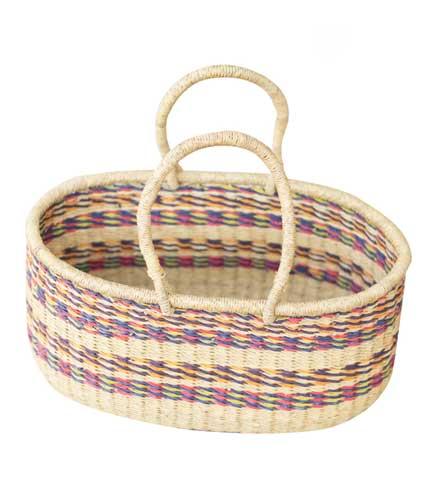 Hand Woven Basket - Violet & Brown