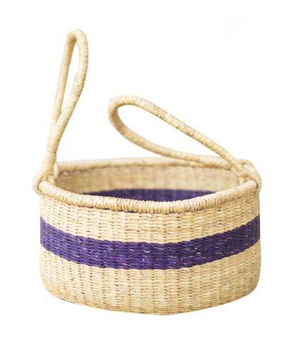 Hand Woven Basket - Blue Stripe