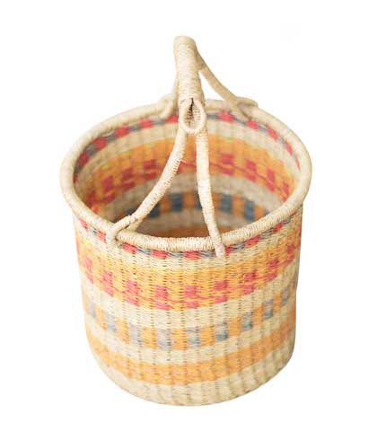Hand Woven Basket - Orange Stripes