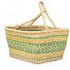 Hand Woven Basket - Green Stripes