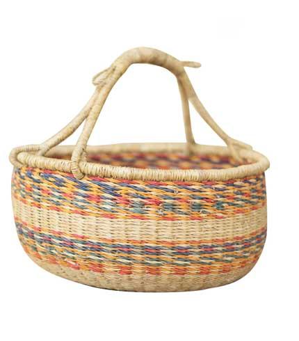 Hand Woven Basket - Orange & Blue Stripes