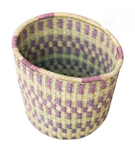 Hand Woven Basket - Green & Violet