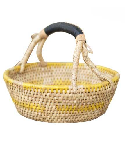 Hand Woven Basket - Yellow