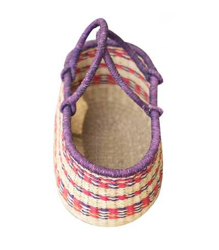 Hand Woven Basket - Pink Stripes
