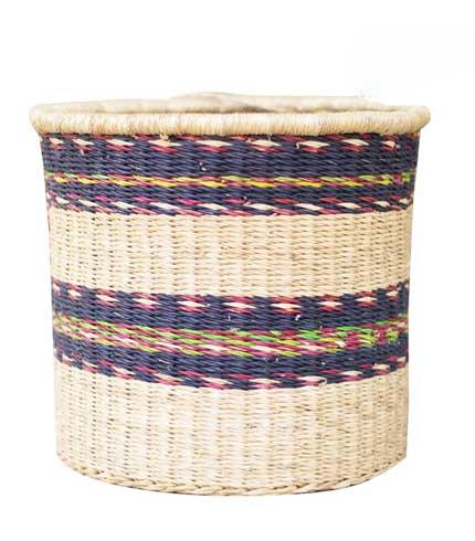 Hand Woven Basket - Blue Stripe Design