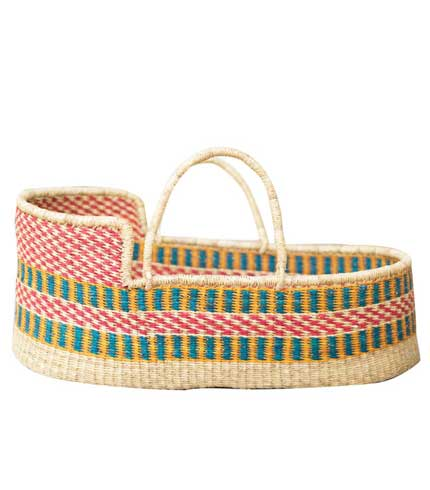 Hand Woven Basket - Green & Pink