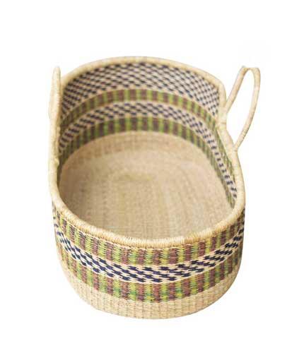 Hand Woven Basket - Green & Blue Stripes