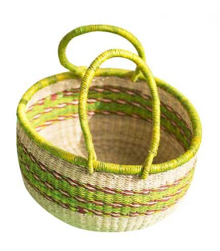 Lemon-Green Hand Woven Basket