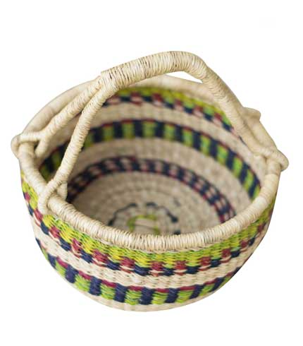White & Blue Hand-Woven Basket