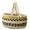 White & Blue Hand-Woven Basket