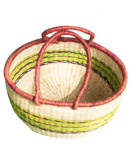 Green Stripped Hand Woven Basket
