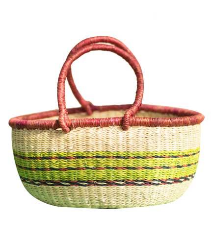Green Stripped Hand Woven Basket