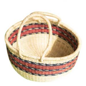 Brown Stripped Hand Woven Basket