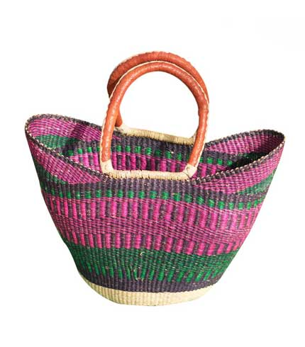 Hand Woven Ladies Bag - Pink & Green