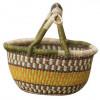 Yellow & Brown Hand-Woven Basket