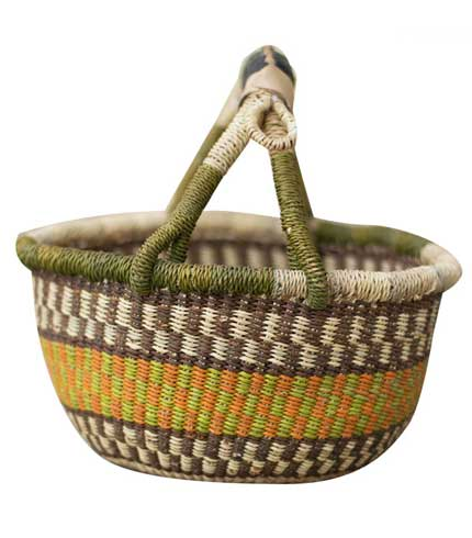 Yellow & Brown Hand-Woven Basket